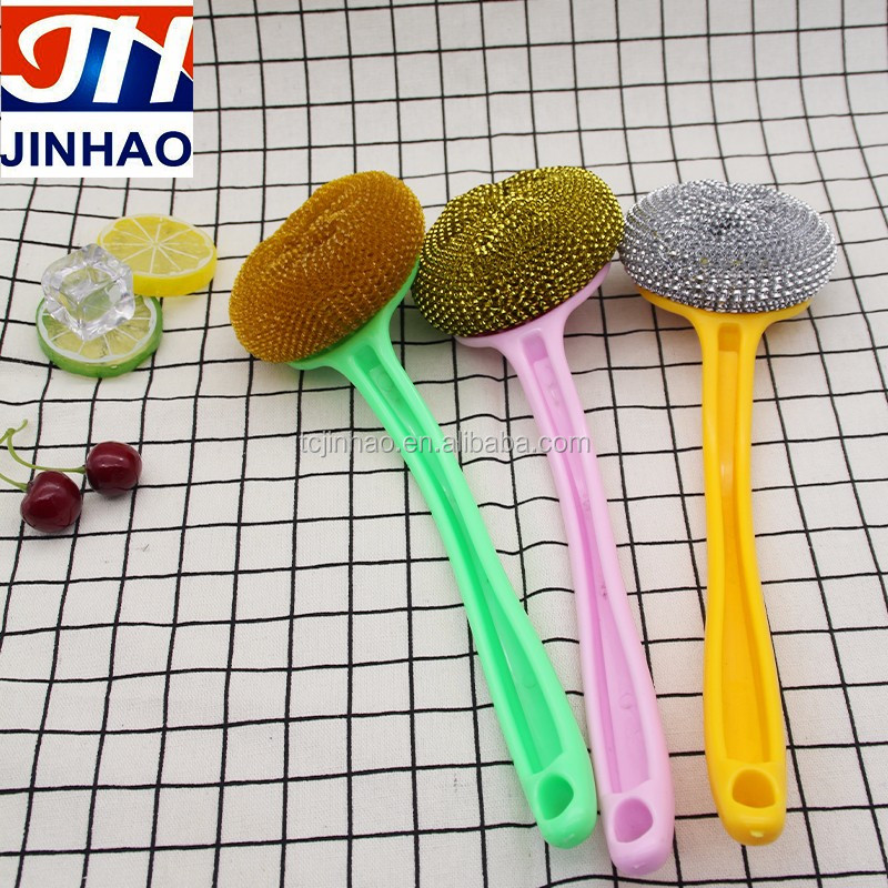 Factory supply Kitchen Plastic Handle Bowl Pot Cleaner Steel Wire Ball Scourer Brush