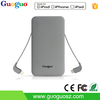 popular 2016 electronic products super silm polymer battery Power Bank with integrated cable 5000mah