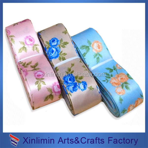 Custom pattern and color polyester satin ribbons grosgrain ribbon