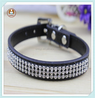 Luxury small dog collar and leash leather ,rhinestone dog collar china