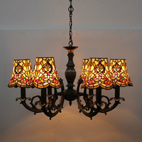 SH00106, 6 branches fancy style living room tiffany chandelier lamp for wholesell