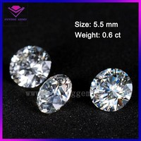 forever brilliant sparkling 5.5 mm 0.6 carat round diamond cut synthetic moissanite