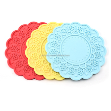 Carving patterns FDA Silicone rubber coaster wine glass coaster