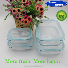 Microwave safe FDA safe office lunch box high borosilicate glass food storage containers/ glass lunch box with plastic lid