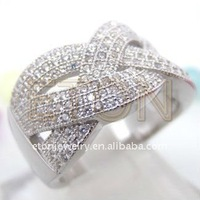 New arrival design hot sale 925 sterliing silver ring (R15031) in superior was micro pave setting