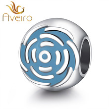 925 sterling silver flower pendants charms light blue enamel beads for custom charms snake bracelet Jewelry