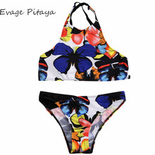 2017New designs Europe Size factory price printed butter fly high neck china extreme bikini