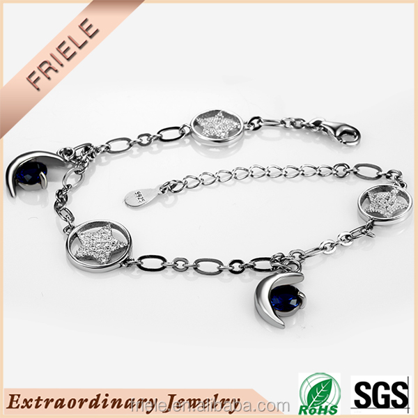 Wholesale Alibaba 925 sterling silver New Model Jewelry Sun Moon And Star Bracelet