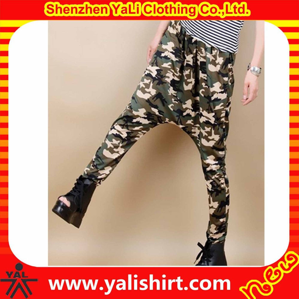 New fashion mix size hot sale cotton camouflage harem dance sweat pants,drop crotch pants