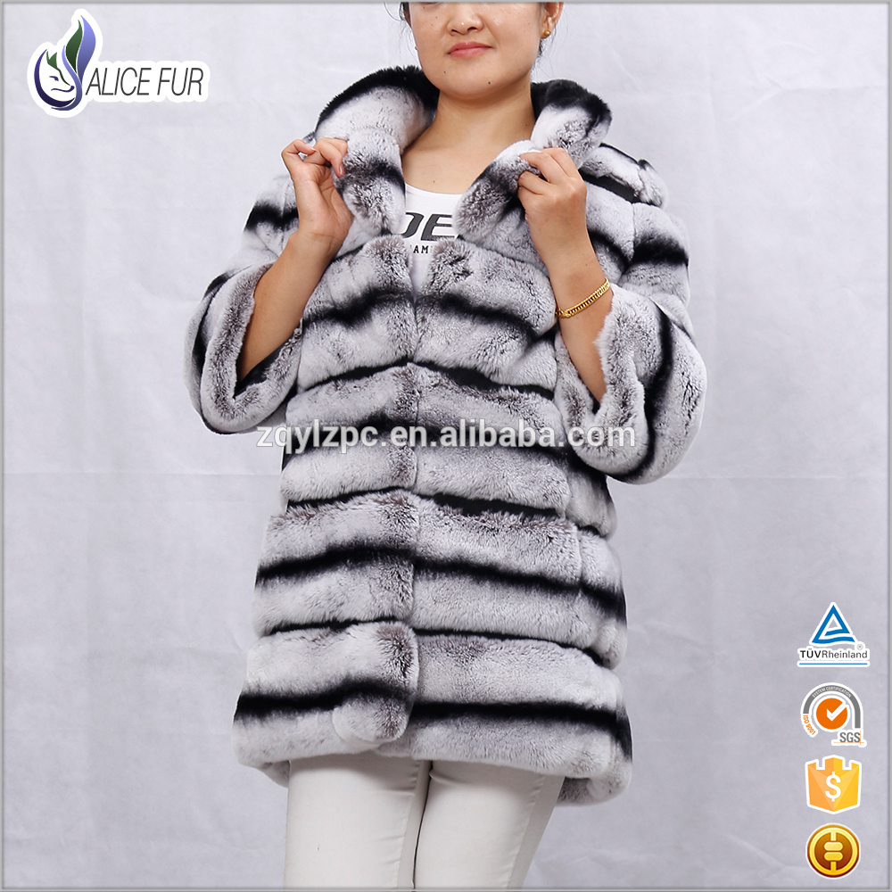 Wholesale price stand collar imitated chinchilla color real rex rabbit fur coat for women