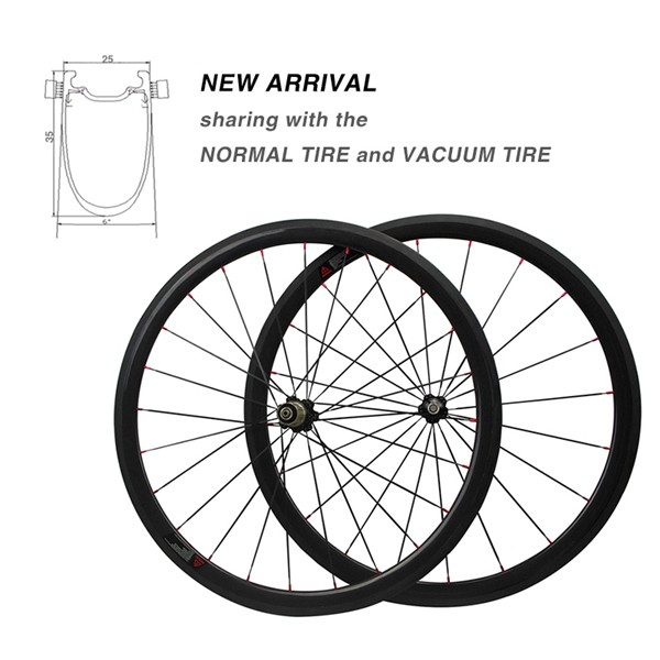 2016 new UD/3K/12K Carbon Bike 25 Width Clincher-tubular integrated Carbon Road 35mm Bicycle Wheelsets.