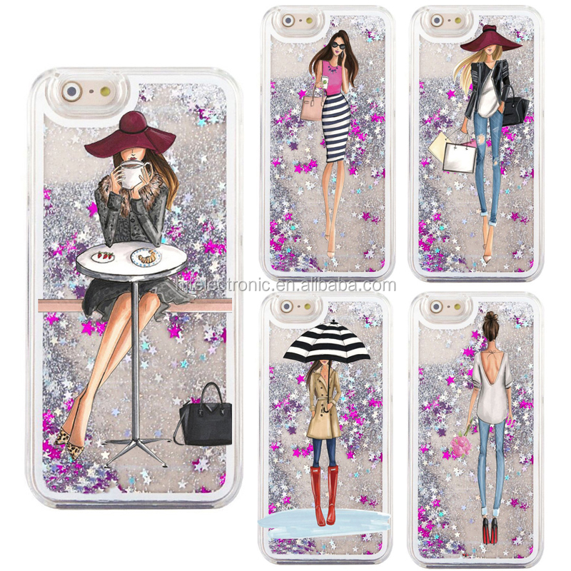Fashion Girl Transparent TPU Mobile Phone Case For Iphone 6/6 plus