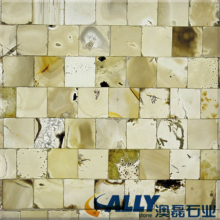 Large Indoor TransparentInk White Jade Mosaic Backlit Agate Backlit Agate Stone Slab