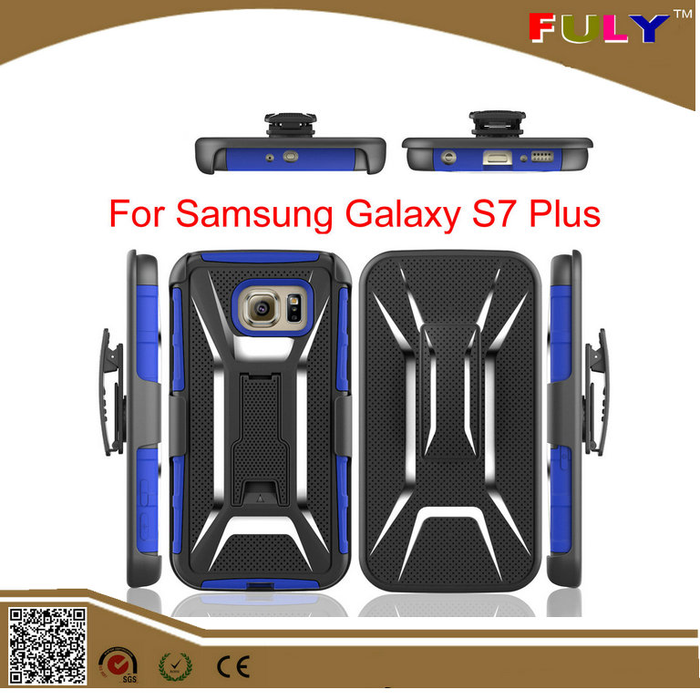 X pattern Armor Shockproof Hybrid Combo Stand Hard Belt Clip Holster Case for Samsung Galaxy S7 Plus