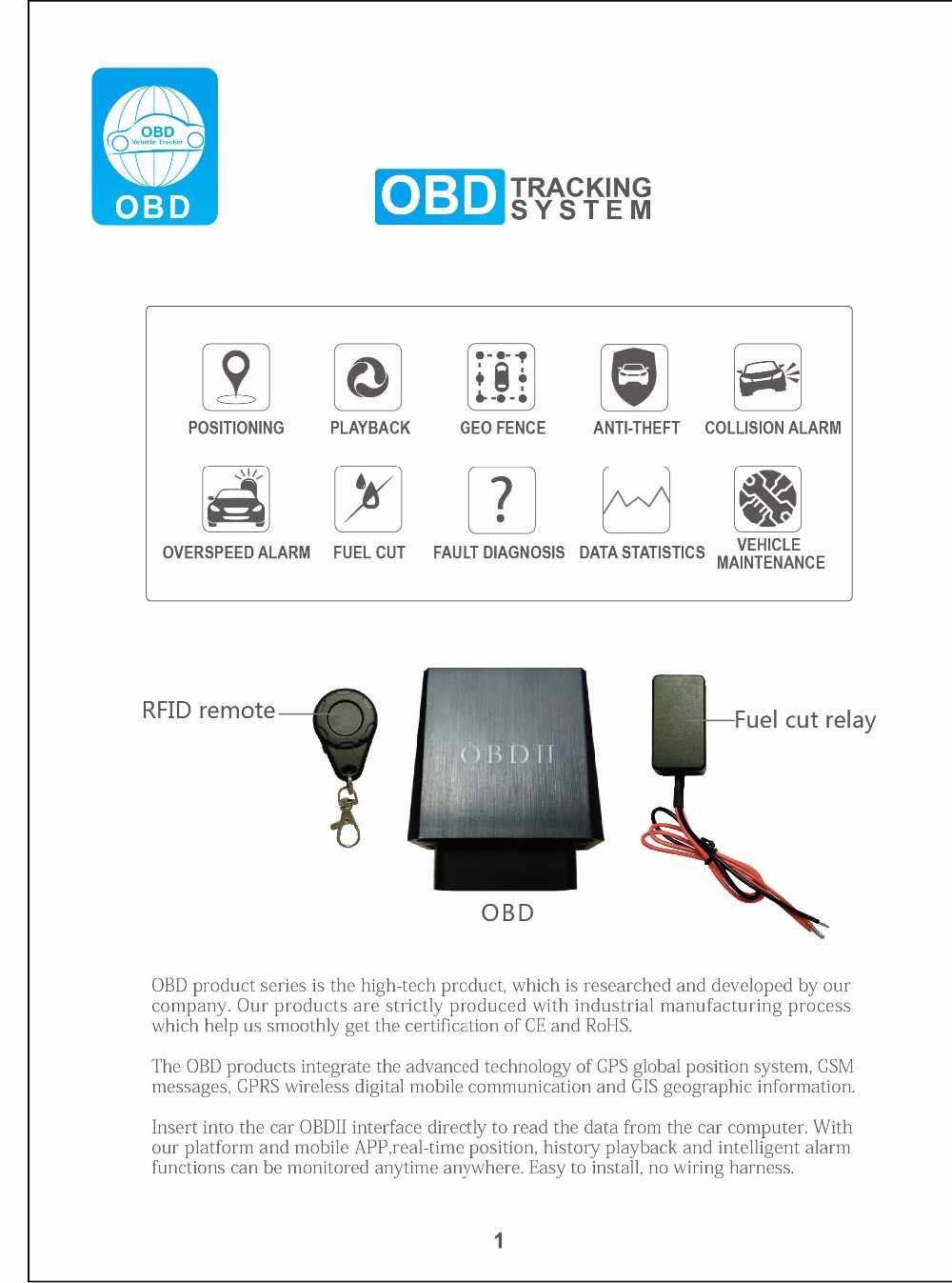 OBD II GPS TRACKER Realtime Car Vehicle Engine GSM GPRS Fr IOS Android