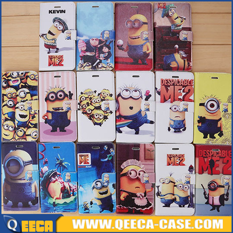 Fancy design mobile phone despicable me 2 minions leather case cover