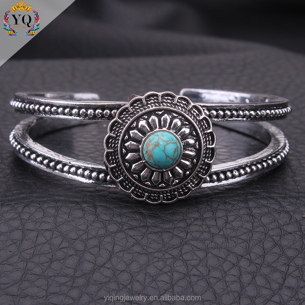 BYQ-00098 vintage elegant chunky daisy natural turquoise wide open bracelet bangle cuff
