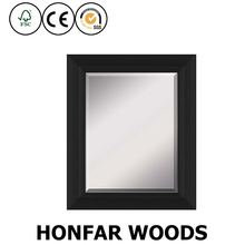 modern style black rectangle natural wood framed mirror for hotel double room