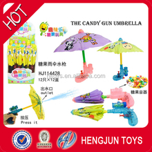 2017 hot selling candy toy for kids mini toys umbrella water gun 12pcs