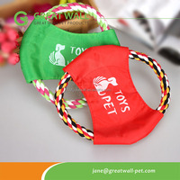 Colorful dog frisbee pet toy with durable cotton rope for training dog