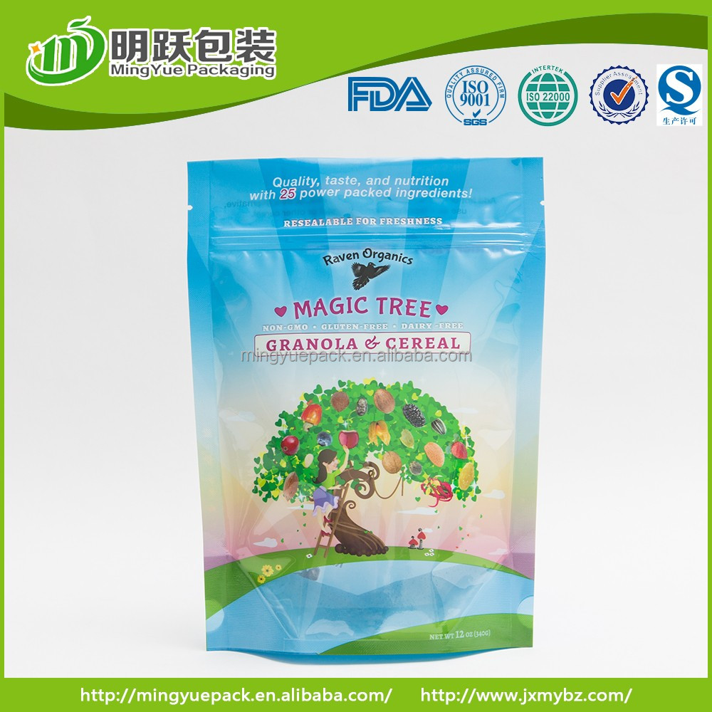 printed plastic bag 12oz grabola and cereal packing pouch customized order