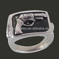 hip hop gothick gun shape ring