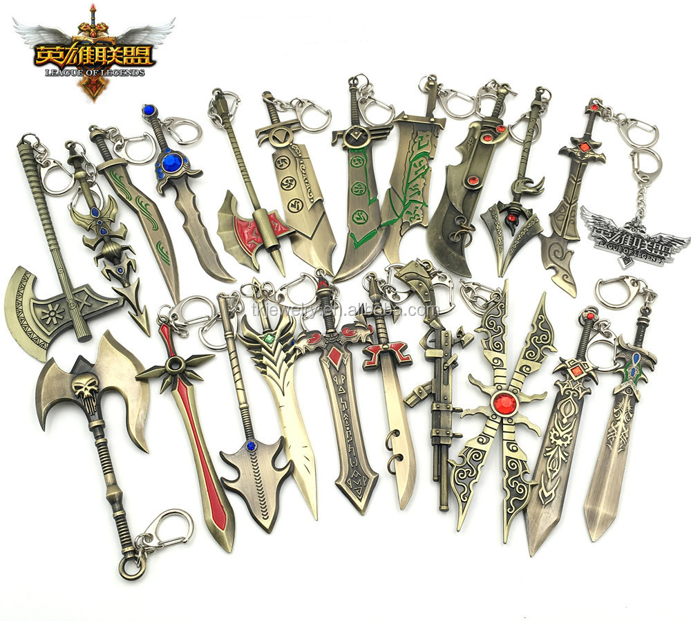 Stock Wholesale Mixed Design League of legends keyring metal LOL souvenir gifts keychain