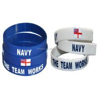 NAVY - The Team Works wristband silicone bracelets rubber wrist bands cuff bangle free shipping by FEDEX express