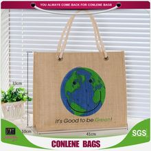 HOT sale high capacity environmental printing reusable novelty jute shopping bag