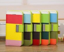 Hit Color PU Leather Wallet Magnetic Stand Flip Case Cover For iPhone 5C