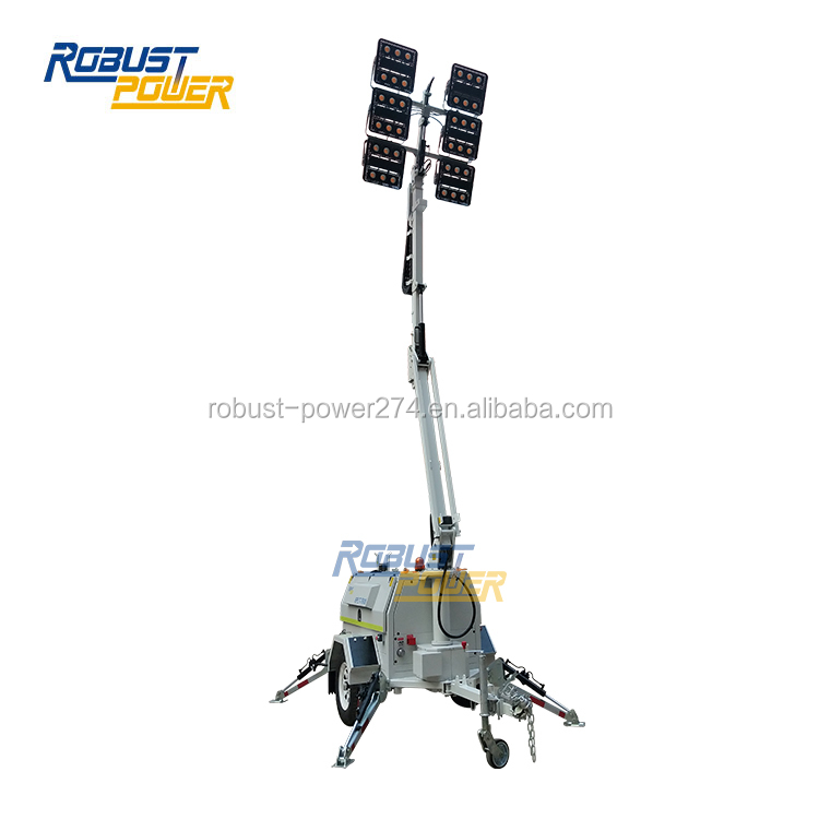 6x480W LED Road Construction Portable Diesel Generator Light Tower