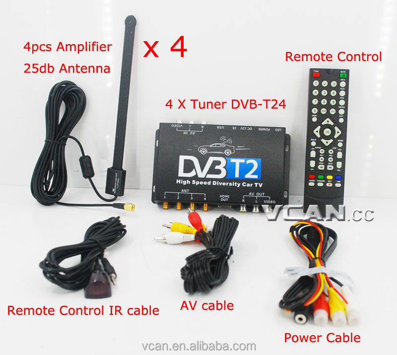 DVB-T24 Car DVB-T2 TV Receiver 4 Tuner 4 Antenna USB HDTV Russia High Speed