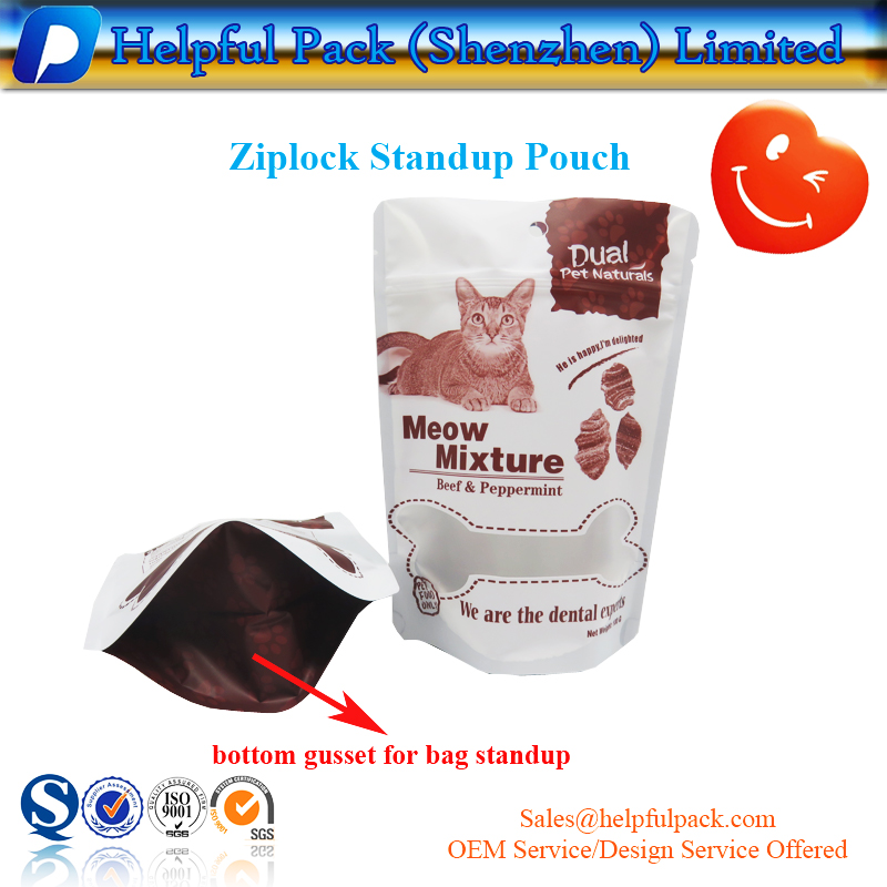 factory customized standup pouch matte bag with zipper aluminum foil dog pet food packaging bag mylar resealable pouch