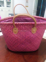 Rose color straw beach bag with leather handle ESL0059