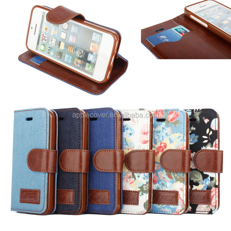 New style flower cloth leather wallet case for IPHONE 5C