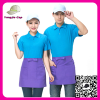 Summer Short Sleeves Top Tee Cap and Apron Sets Custom top quality blank cheap restaurant waiter uniform