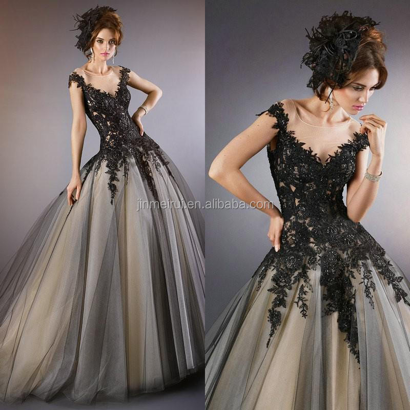 Elegant Vintage Evening Gowns with Cap Sleeves Black Lace Appliques Sheer Neck Ball Gowns Formal Long Dress 2015 WL413