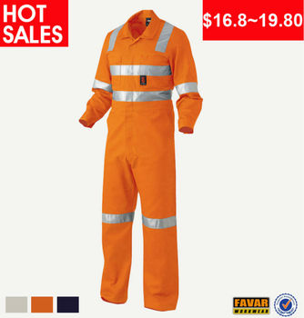 Mens 100% cotton Twill Working Orange Coveralls Safety Clothing