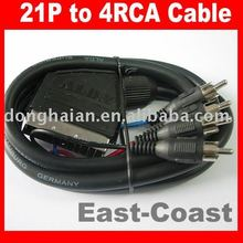 EURO SCART to 4 RCA Cable