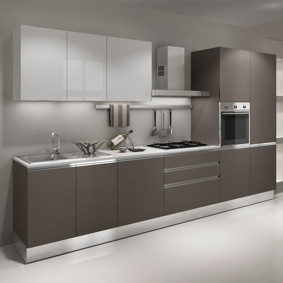 High Gloss Lacquer Modular Kitchen Designs For Small ...