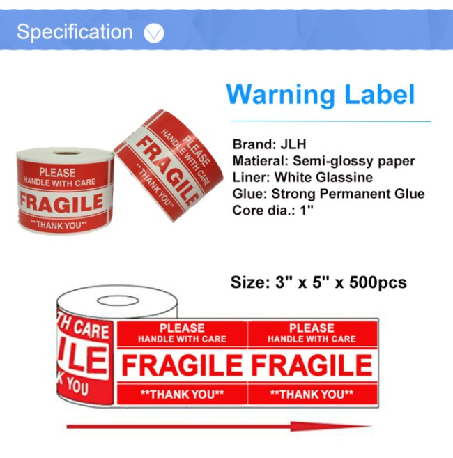 500 3x5 Please Fragile Handle With Care Shipping Labels