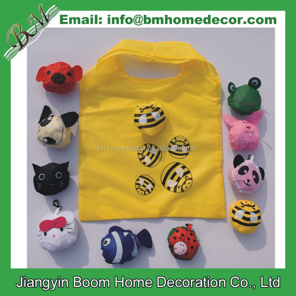 Recycled Pet Eco-friendly Resuable Animal Bee Fish Cat Panda Bee Frog Rabbit Foldable Rpet Shopping Bag
