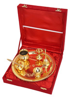 Indian Gold Plated Brass Pooja Thali