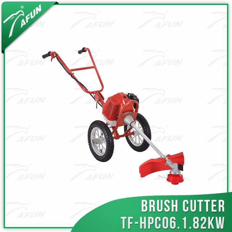 grass cutting tools hand push brush cutter with wheels
