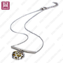 stainless steel jewelry necklace with diamond set silver yellow