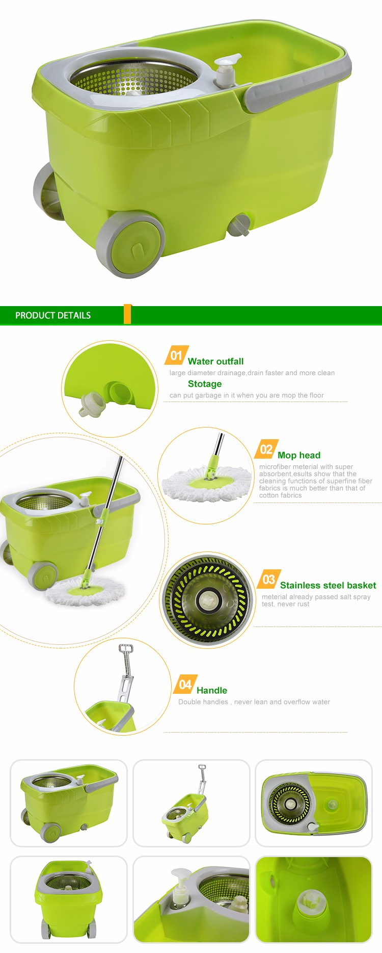Sale | Spin Mop King | NO.1 Quality Original Stepper green bucket LV-08