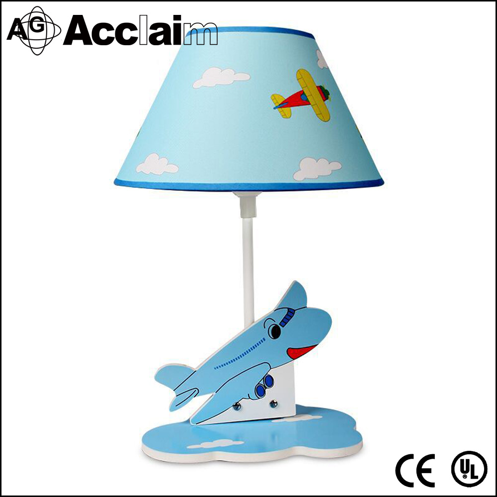 China factory fashionable led blue desk light kid table lamp with plane