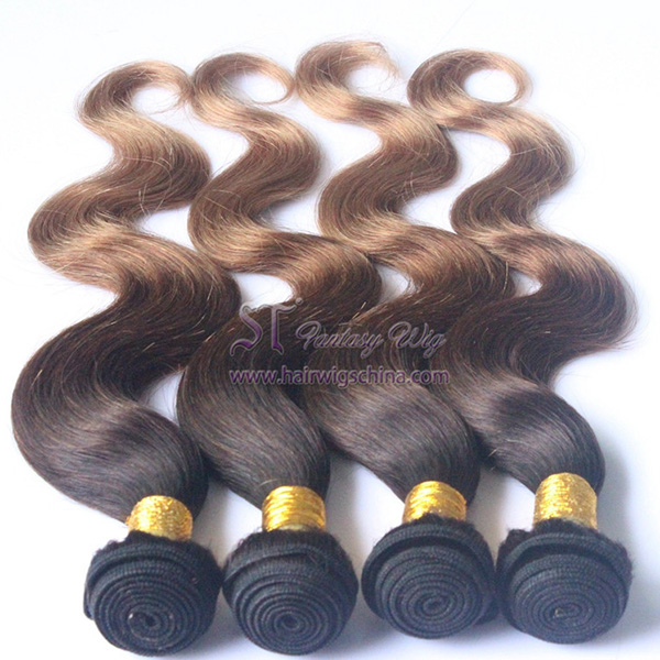 Factory wholesale wet and wavy ombre colored indian human hair weave