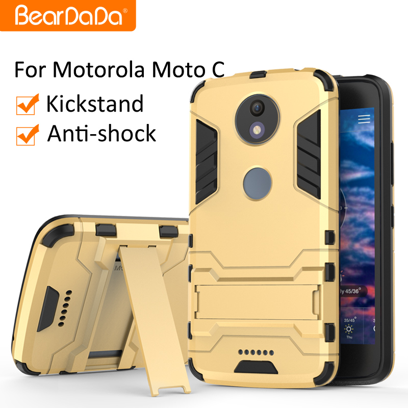 Anti shock kickstand <strong>mobile</strong> phone accessories case for motorola moto <strong>c</strong>