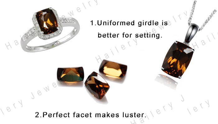 6x8mm gemstone brown baguette zircon stone